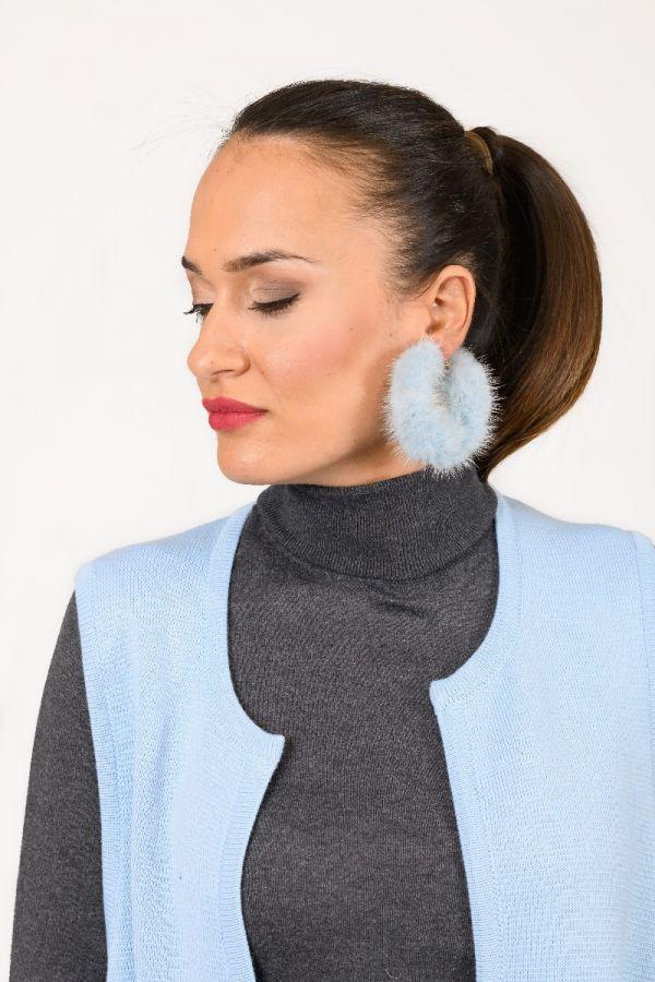 Γαλάζια γούνινα κρίκοι σκουλαρίκια