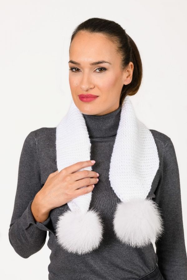 HAND KNIT white scarf with fur pompoms