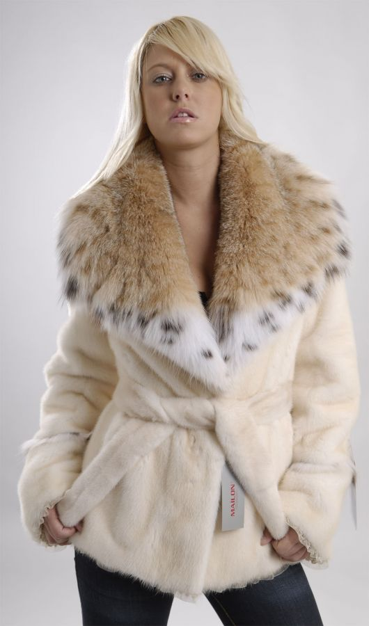 Pearl mink jacket with lynx collar