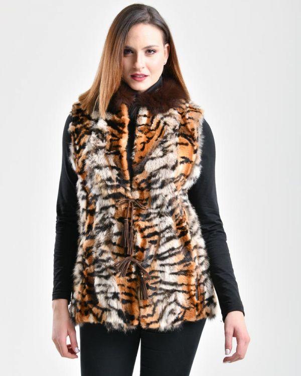 Animal print γούνινο γιλέκο . Size 46