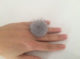 Γκρι (ζαφάιρ)  γούνινο δαχτυλίδι