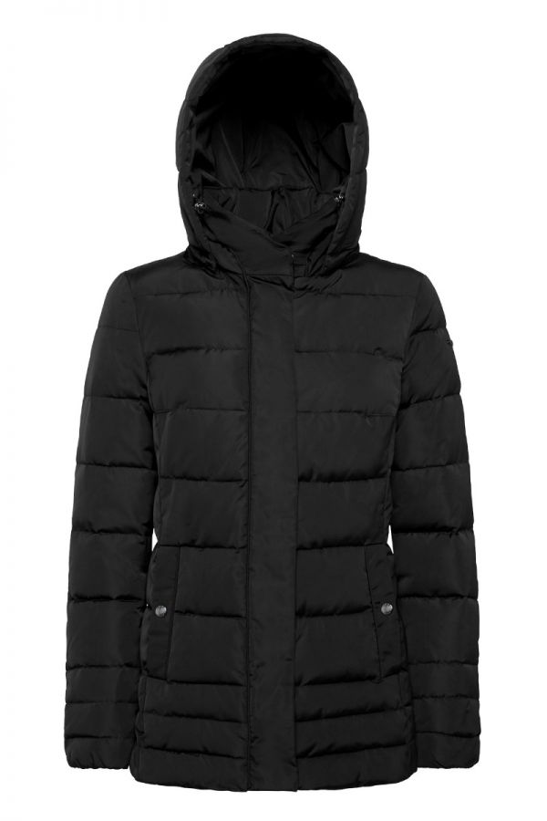 GEOX-ANEKO-Women's hooded  and padded black mid jacket