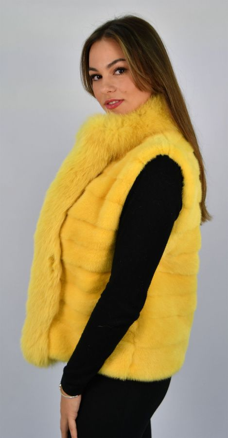 SAGA ROYAL Yellow Mink Fur Vest with Fox Trim - Size Small/Medium
